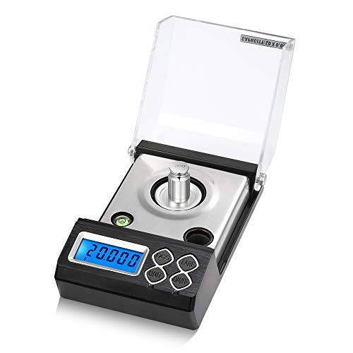 KKmoon Digitalwaage 20g / 0,001g Hochpräzise elektronische Waage Pulverwaage Goldschmuck Karatwaage Digital Gewicht mit Kalibriergewicht Pinzette und Waagschale - Essen-gewicht-digital-skala