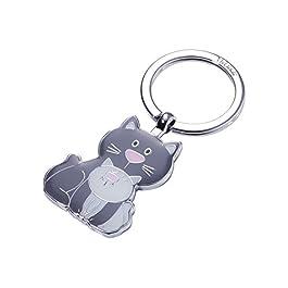 TROIKA CAT & KITTY – KR18-04/GY – Portachiavi – Gatto, gattino – Meow – Miao – metallo pressofuso/smalto- lucido – cromato – grigio chiaro, grigio scuro – TROIKA-originale