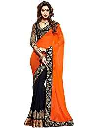 Nena Fashion Women's Georgette Saree With Blouse Piece Orange Black Saree