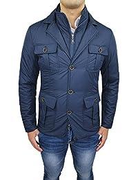 Giacca Invernale Uomo Blu Casual Elegante Sartoriale Piumino Giaccone con  Gilet Interno 8ce03e106e1