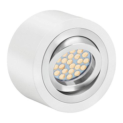 LED Aufbaustrahler Set EXTRA FLACH (50mm) in Weiß mit LED Markenleuchtmittel von LEDANDO - 5W DIMMBAR - 3.000 Kelvin warmweiss - 60° Abstrahlwinkel - schwenkbar - 50W Ersatz - tauschbares Leuchtmittel