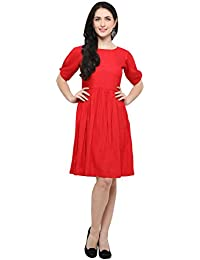 Inddus Red Solid Flared Dress/Knee Length/Dress for Women