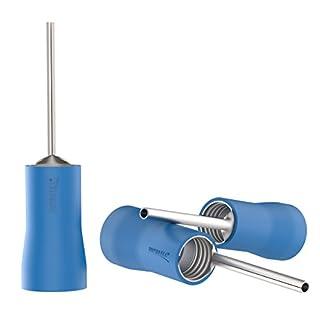 AUPROTEC 50x Stiftkabelschuhe 1,5 - 2,5 mm² blau Stiftlänge 12 mm Teilisolierte PVC PTV männliche Kabelschuhe aus Kupfer verzinnt Kabel-Verbinder Stift-Form