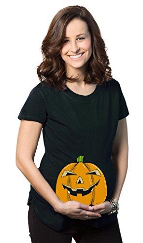 Crazy Dog Tshirts Maternity Smiling Jack-O-Lantern Pregnancy Tshirt Funny Halloween Baby Bump Tee -XXL - Damen - XXL (Gesichter Jackolantern Halloween)