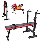 ICOCO Foldable Bench Press Gym Training Equipment Adjustable Weight Bench Folding Multi Sit up Workout Bench Barbell Station Lifting Chest Exercise