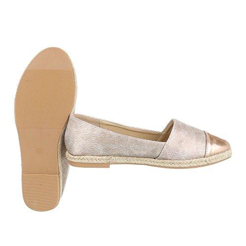 Slipper Damenschuhe Low-Top Blockabsatz Moderne Ital-Design Halbschuhe Rosa Gold
