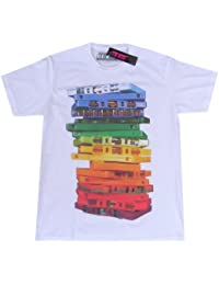 Zip Zap Zooom Mens Retro Vintage Audio Tape Cassette Stack T-shirt (Large Width 53cm/Height 74cm)