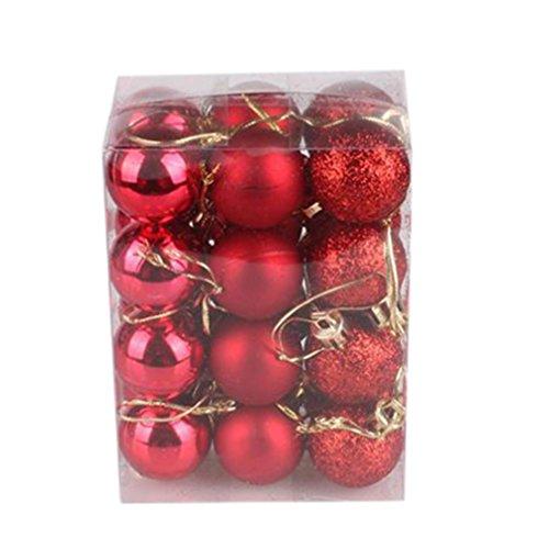 24 Stücke Weihnachtskugeln Xmas Bäume Dekoration Ball 30mm Flitter Hängende Ornament Home Party Ornament Dekor (Rot)