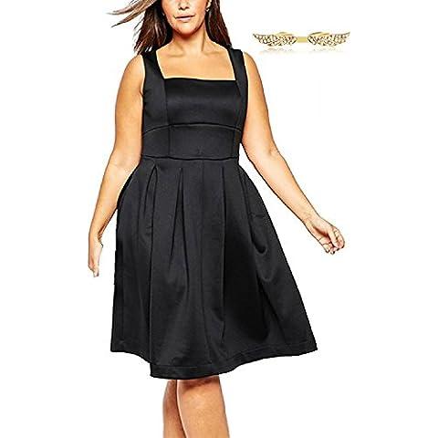 BYD Mujeres Talla Extra Vestidos sin Mang Estilo Hepburn Grande Elegant Vestido de Cóctel Plus Size