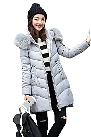 YMING Women Down Cotton Jacket Long Coat Winter Jackets Gray