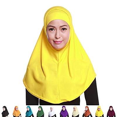 QHGstore Frauen Muslim Style Kopftuch Hijab Soft Langfarbiger Baumwollschal Hijab