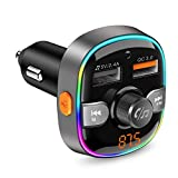Bluetooth FM Transmitter 5.0, Handsfree Car Kit Car Radio Audio Adapter MP3 Player