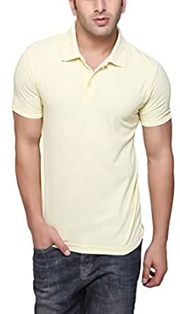 AMERICAN CREW Men's Polo Collar Pastel Yellow T-Shirt - S (AC040A-S)