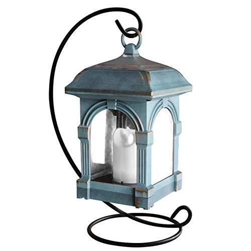 VROSE FLOSI Bright Outdoor Vintage Hängende LED Solar Laterne Kerze Lampe Scheinwerfer für Garten, Balkon, Auffahrt, Pathway, Yard, Rasen, Umbrella Landschaft (Bronze w/Bracket) -