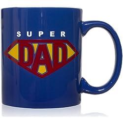 Taza mug desayuno de cerámica azul 32 cl. Modelo Super Dad