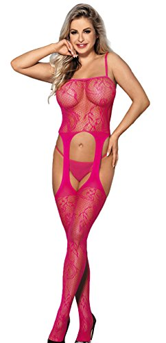 MarysGift Donna Intimo,Cavallo aperto floreale backless maglia Bodystockings Body K31634