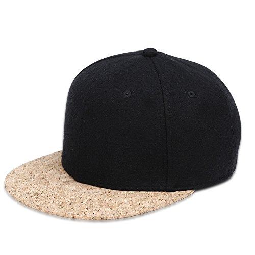 Kork Peak Baseball Kappe Atmungsaktiv Bio Baumwoll Wolle Snapback Cap für Sport Tennis Fahren Golf Arbeiten (Schwarz)