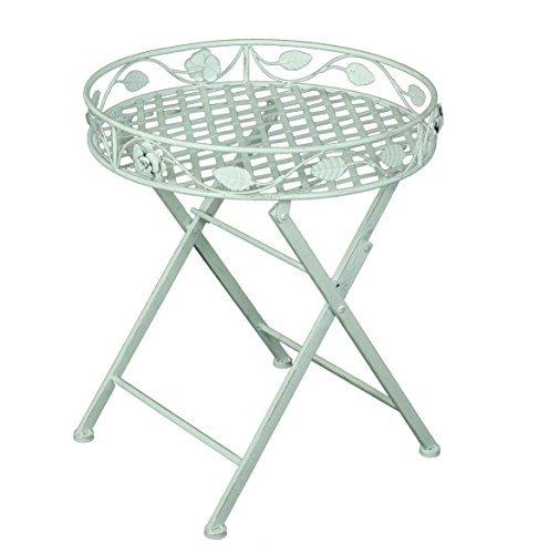 Vintage Metall Pflanz Tisch Rund Beistelltisch Garten Deko Altweiß    Hochwertiger Runder Tisch Als Dekoration Für