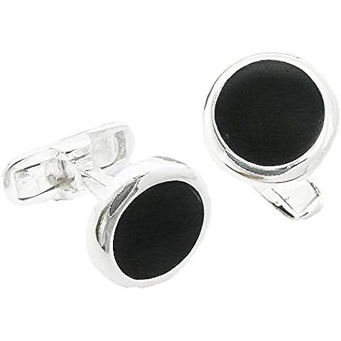 Gemelli rotondi smalto nero e argento sterling 925–Per l' uomo della tua vita, in confezione regalo