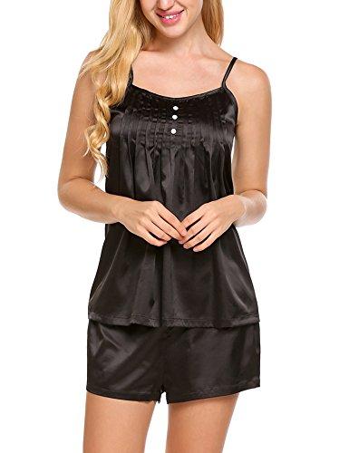Nachthemd Set Sexy träger Nachtwäsche 2tlg schlanfanzug Hosen Tank Top Two Piece Schwarz XL (Spitze Breite Sling)