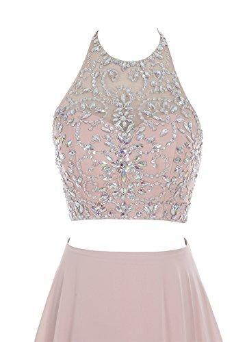 ... Bbonlinedress Damen Lang Zwei Teile Floral Beaded Prom Kleid Halter A-line  Abendkleid Orange ...