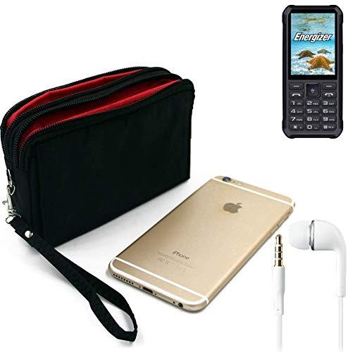K-S-Trade TOP Set für Energizer H20 Gürteltasche schwarz + Kopfhörer Travel Bag Travel-Case mit Diebstahlschutz praktische Schutz-Hülle Schutz Tasche Outdoor-case für Energizer H20
