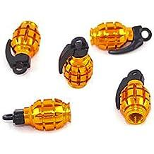 Válvula Tapa Oro–Amarillo Granada de mano Granada anodizado Metallic aluminio 4unidades Tapones de válvula Juego de 4de etu24