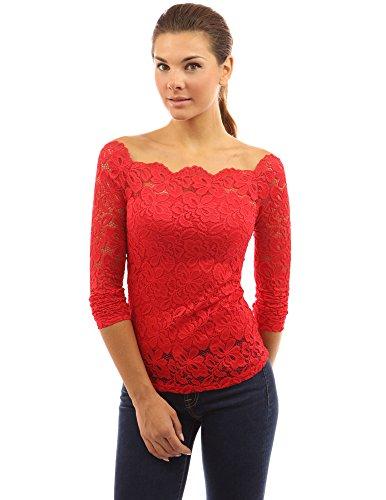 PattyBoutik chic chemise en dentelle à épaules dénudées à manches longues et demi- transparente rouge vif