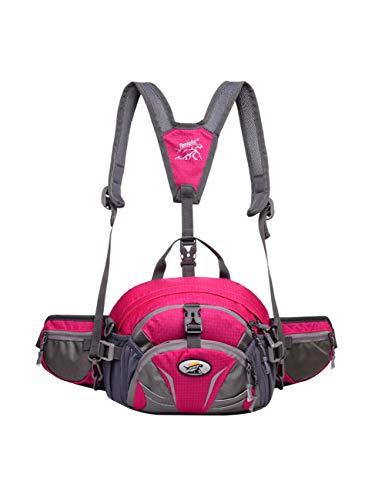 LYARA Trekking-Taschen mit Taschen- und Trinkflaschenhalter, Camping-Wanderrucksack, Wandertasche mit Hund,-Rosered