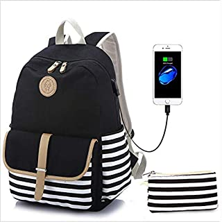 WYFDM Schulrucksack Mädchen Schultasche Canvas Rucksack Schulranzen Backpack Streifen Rucksack Mit 15.6 Zoll, USB Charging Port