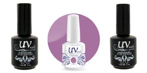 UV-Nails Vernis a Ongles Soak-Off Gel 15ml Love Me, Love Me Not #220 + Base & Top Coat 15ml + Aviva Polissoir a ongles