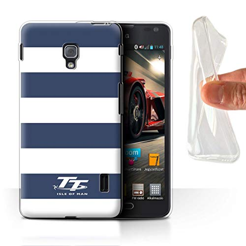Isle of Man TT Offiziell Hülle/Gel TPU Case für LG Optimus F6 / Blaues Zebra Muster/Eleganz Kollektion (F6 Lg Handy Case)