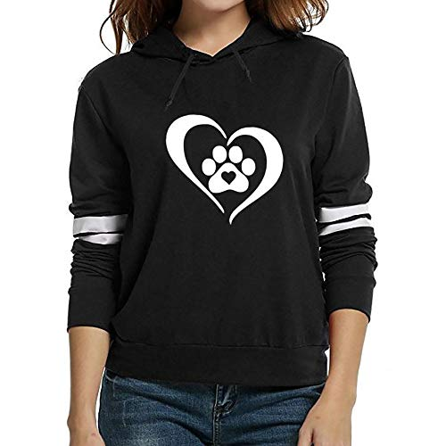 (MYMYG Damen Pullover Lady Fashion Print Langarm mit Kapuze Solid Tops Bluse Shirt(B1-Schwarz,EU:42/CN-M)