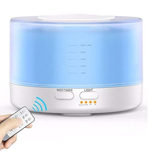 Arvin87Lyly Aroma Humidifier difusor ultrasónico Humidificador, 700ML Ultra silencioso LED Lámpara de Aroma con 7Colores, Mando a Distancia