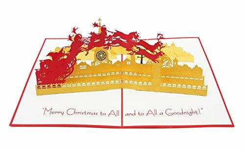 PopLife Cards Santa & Schlitten 3d Pop-up Urlaub Grußkarte - für festliche Freunde, Strumpf Stuffers, Familie - Falten flach, ideal für den Versand - Frohe Weihnachten, Urlaubsparty, danke, gesund we (Familie Strümpfe Weihnachten)