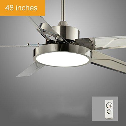 Wohnzimmer Fernbedienung Deckenventilator Licht LED Schlafzimmer Home Moderne, einfache Fan Restaurant Ventilator Kronleuchter den neuen energiesparenden Leiser DC-Motor, 24W Xuan-Wert haben (Farbe: Fernbedienung, Größe: 48 Zoll)