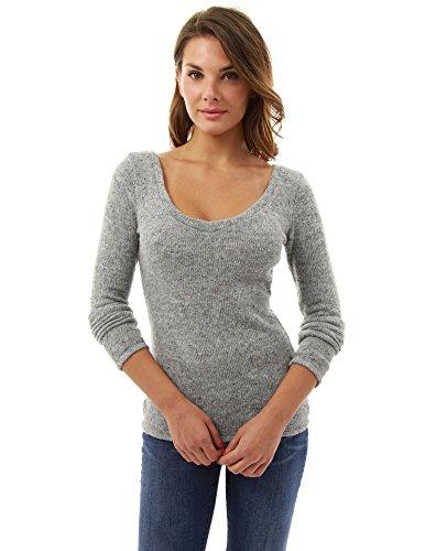 PattyBoutik Donne v pizzo posteriore del collo fasciate maglione maglia erica grigio chiaro
