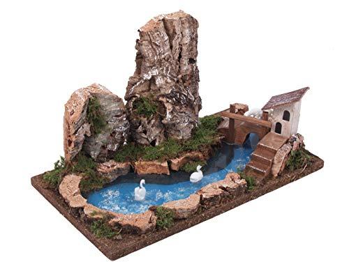 Bertoni little lake with rocky da parete, in legno, taglia unica