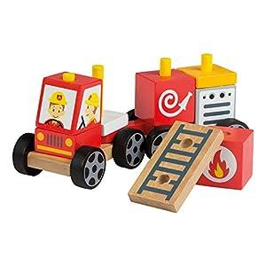 ColorBaby Play&Learn Coche bomberos de madera natural Multicolor (46201)