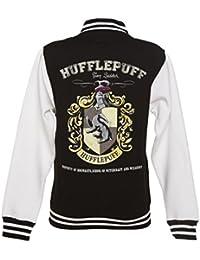 Womens Black Harry Potter Hufflepuff Team Quidditch Varsity Jacket