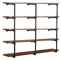 "(3PC,52""Tall,12""deep) Industrial Wall Mount Iron Pipe Shelf Shelves Shelving Bracket Vintage Retro Black DIY Open Bookshelf DIY Storage offcie Room Kitchen Shelves"