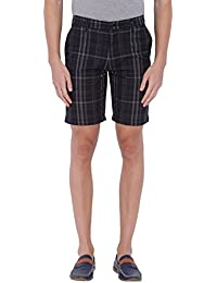 Blue Wave Black And Grey Checkered Casual Short For Men