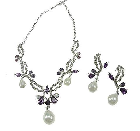Glamour Girlz Beautiful Violet Cristal Strass et perle imitation perle feuille & larme collier et boucles d