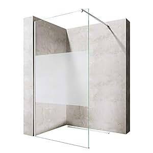 Sogood Luxus Duschwand Duschabtrennung Bremen1MS 140x200 Walk-In Dusche mit Stabilisator aus Echtglas 8mm ESG-Sicherheitsglas Klarglas inkl. Nanobeschichtung