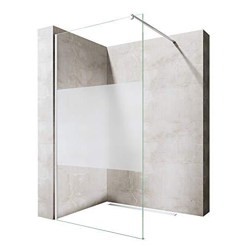 90x200 cm Luxus Duschwand aus Echtglas Bremen1MS, ESG Sicherheitsglas satiniert, inkl. Nanobeschichtung, Duschabtrennung, Dusche, Walk-In Dusche