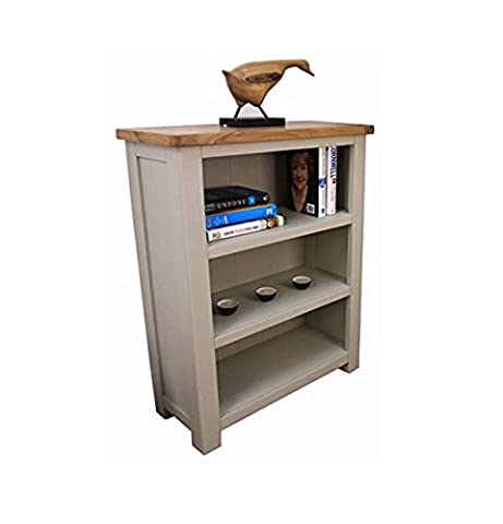 Windermere Sage Grey Painted Oak Small Bookcase / Bookcase with 3 Shelves / Display Unit