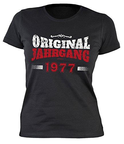 Damen T-Shirt zum Geburtstag: Original Jahrgang 1977 - Tolle Geschenkidee - Baujahr 1977 - Farbe: schwarz Schwarz