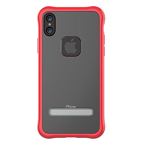 Coque iPhone X, WorCord Coque iPhone X Protecteur [Portection du Coin] Clair Etui d'Arrière Transparent Absorption des Chocs avec Stand Fonction du Soutien pour Apple iPhone X - Noir Rouge