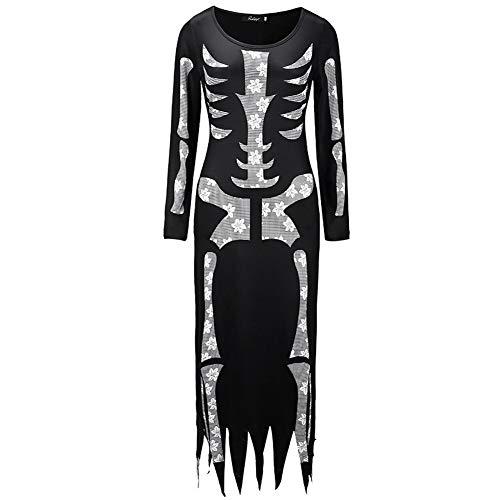BAIVIT Damen Halloween Skelett Kostüm Langarm Kleid Horror -
