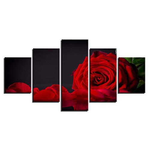 KKXXWLH Leinwand Hd Drucke Bilder Wandkunst 5 Stücke Rote Rose Blume Gemälde Modulare Blütenblatt Poster Wohnkultur Für Wohnzimmer Rahmen -